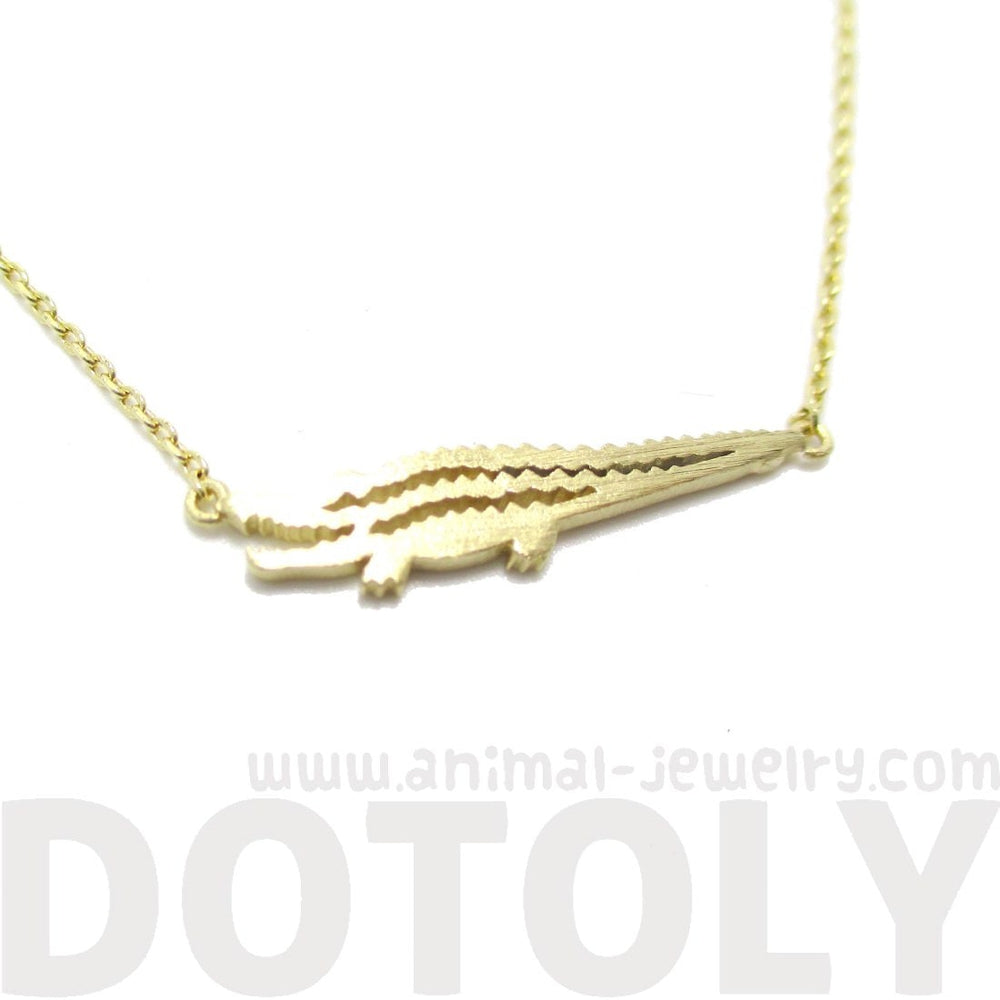 Crocodile Alligator Shaped Charm Necklace in Gold