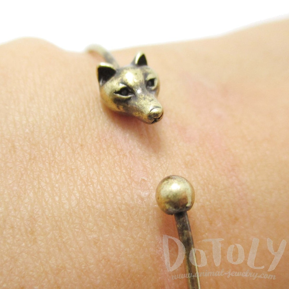 Minimal Fox Wolf Bangle Bracelet Cuff in Brass | DOTOLY