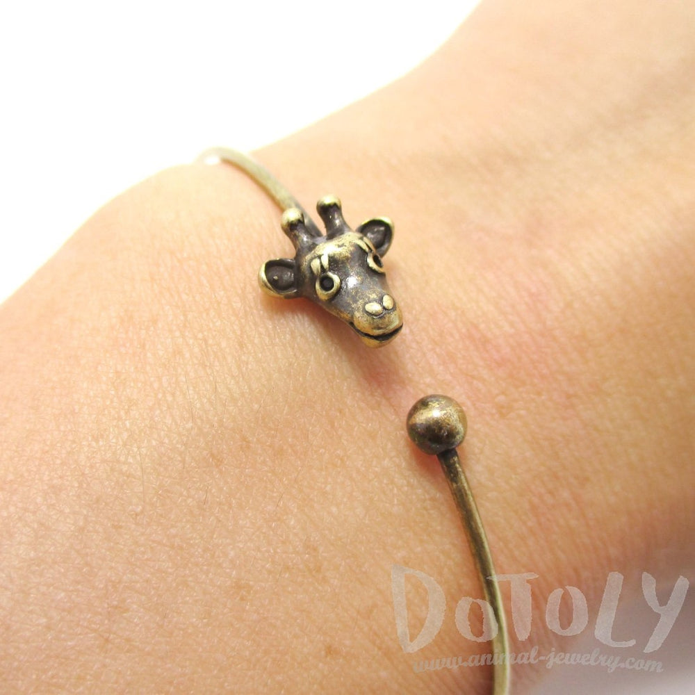 Minimal Giraffe Bangle Bracelet Cuff in Brass | DOTOLY