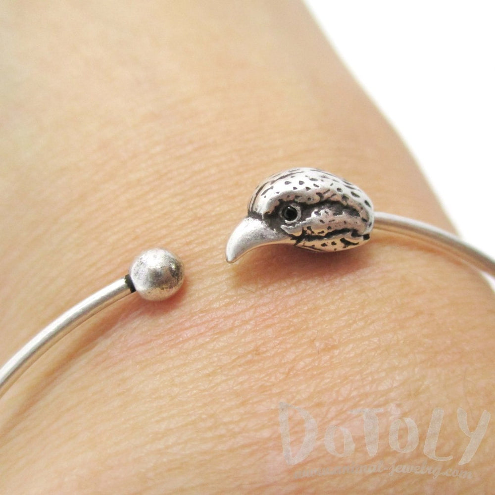 Minimal Raven Bird Charm Bangle Bracelet Cuff in Silver