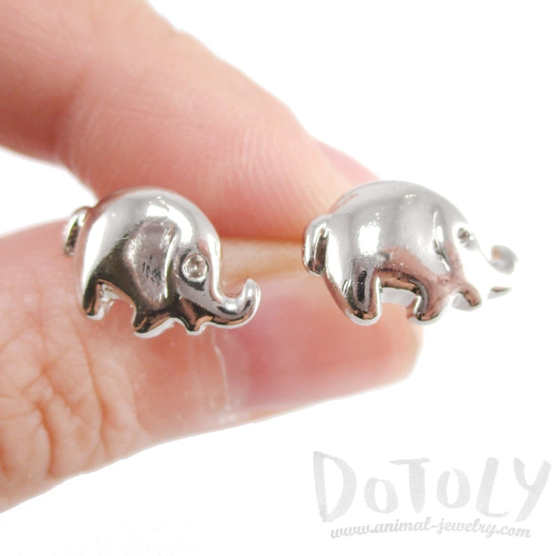 Minimal Round Elephant Shaped Stud Earrings in Silver