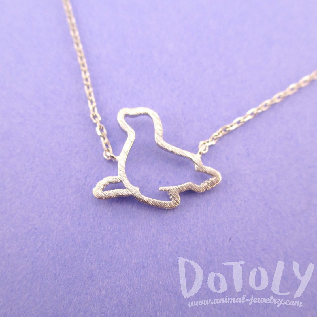 Minimal Sea Lion Seal Outline Shaped Charm Necklace in Silver | DOTOLY