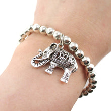 Silver Beaded Stretchy Bracelet with Elephant Charm