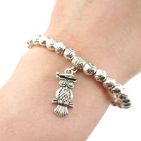 Silver Evil Eye Beaded Stretchy Bracelet with Owl Charm
