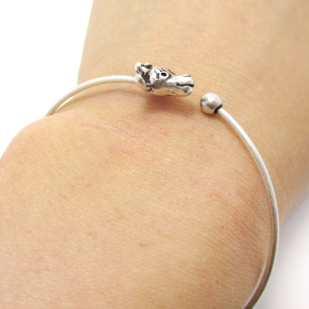 Minimal Tiger Bangle Bracelet Cuff in Silver | DOTOLY