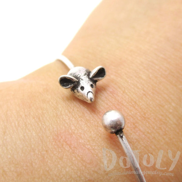 Minimal Tiny Mouse Charm Bangle Bracelet Cuff in Silver