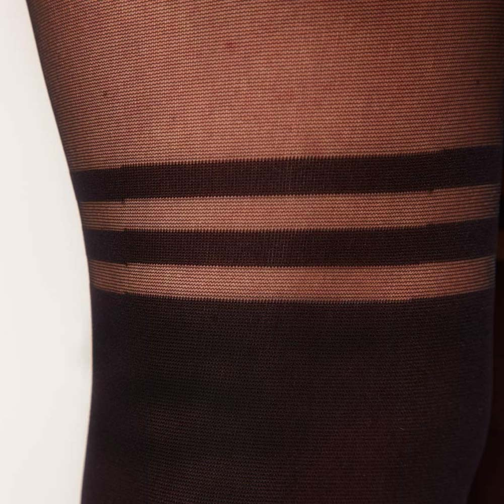 Mock Over The Knee Hoop Striped Garter Sheer Pantyhose Tights for Women
