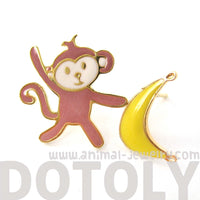 monkey-and-banana-shaped-animal-themed-stud-earrings-limited-edition