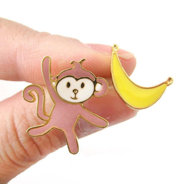 Monkey and Banana Shaped Animal Themed Stud Earrings | Limited Edition | DOTOLY