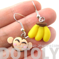 monkey-and-banana-shaped-polymer-clay-dangle-earrings-dotoly