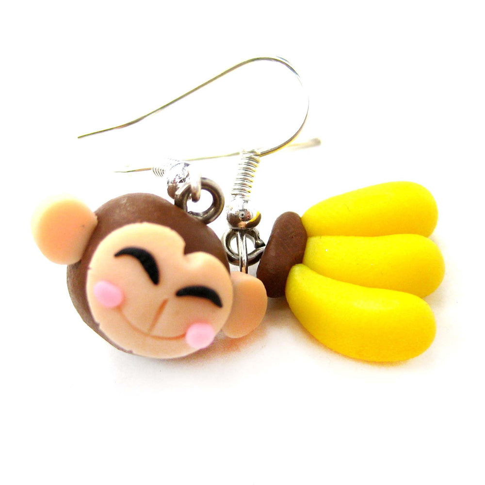 Monkey and Banana Shaped Polymer Clay Dangle Earrings | DOTOLY | DOTOLY