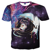 Monkey Chimpanzee Astronaut Smoking a Cigar in Space Print Graphic Tee