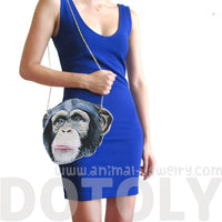 Monkey Chimpanzee Face Shaped Vinyl Cross Body Bag