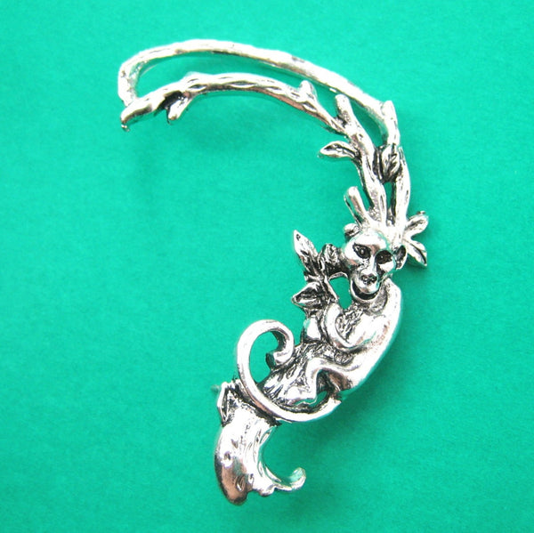Monkey Chimpanzee Shaped Animal Wrap Ear Cuff in Silver | DOTOLY