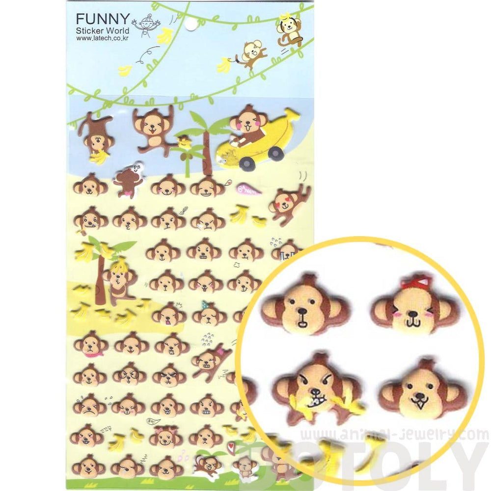 Monkey Face Head Shaped Animal Themed Funny Expressions Puffy Stickers