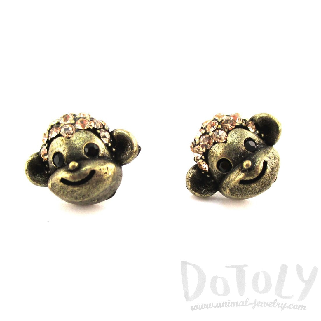 Monkey Face Shaped Rhinestone Stud Earrings in Brass | DOTOLY