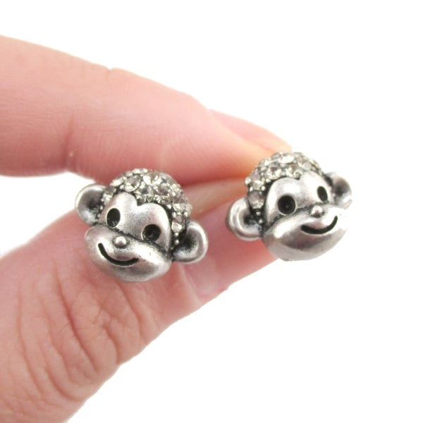 Monkey Face Shaped Rhinestone Stud Earrings in Silver | DOTOLY