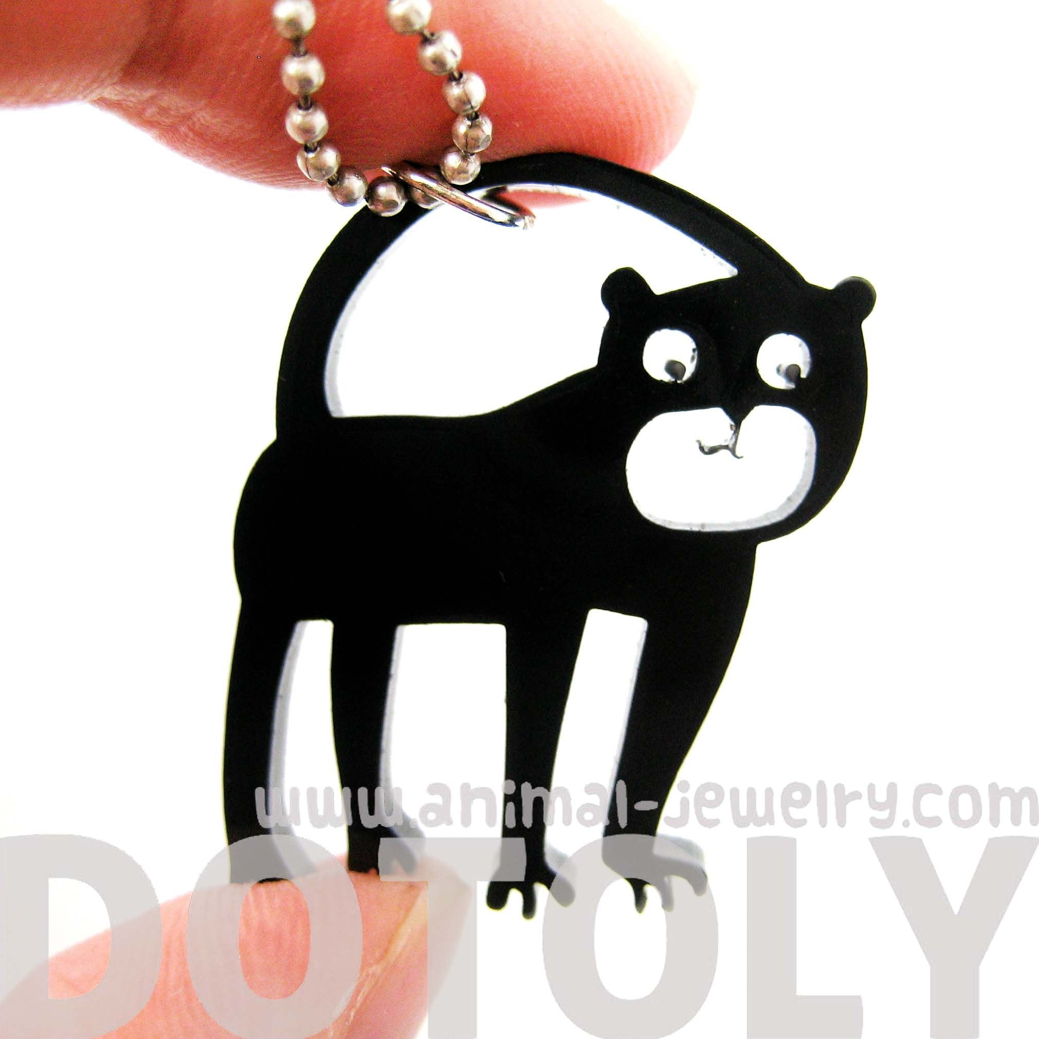 monkey-silhouette-shaped-pendant-necklace-in-black-acrylic-animal-jewelry