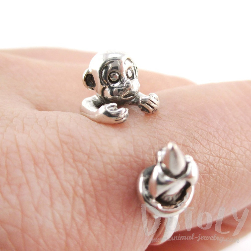 Monkey with Banana Animal Wrap Ring in Sterling Silver