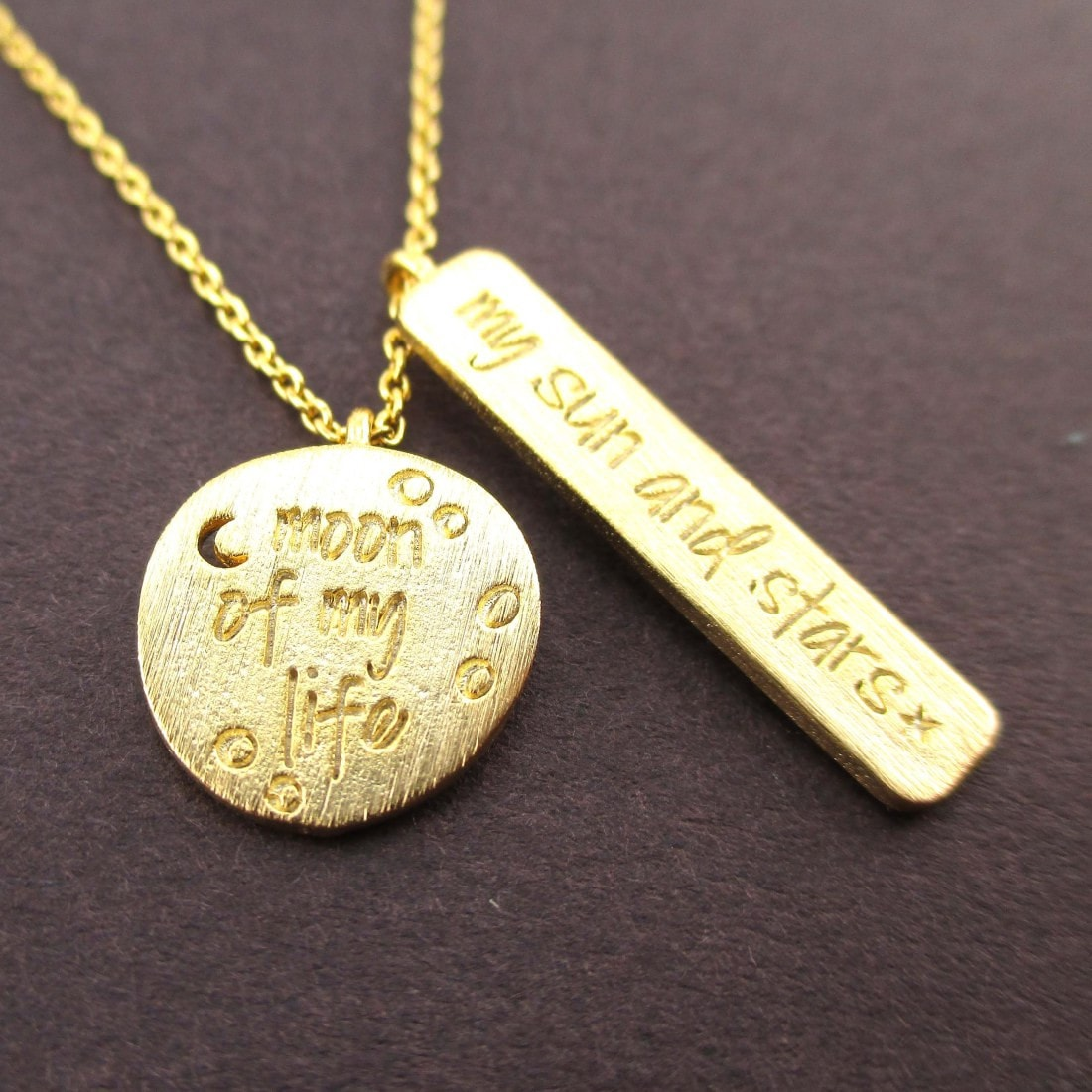 Moon of my Life My Sun & Stars Game of Thrones Quote Necklace in Gold