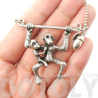Monkey Chimpanzee Swinging Pendant Necklace in Silver