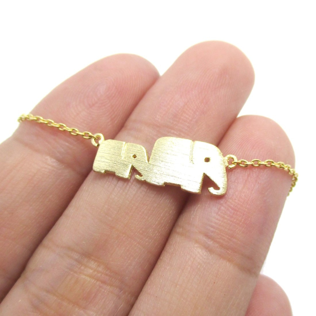 Mother and Baby Elephant Silhouette Bracelet in Gold
