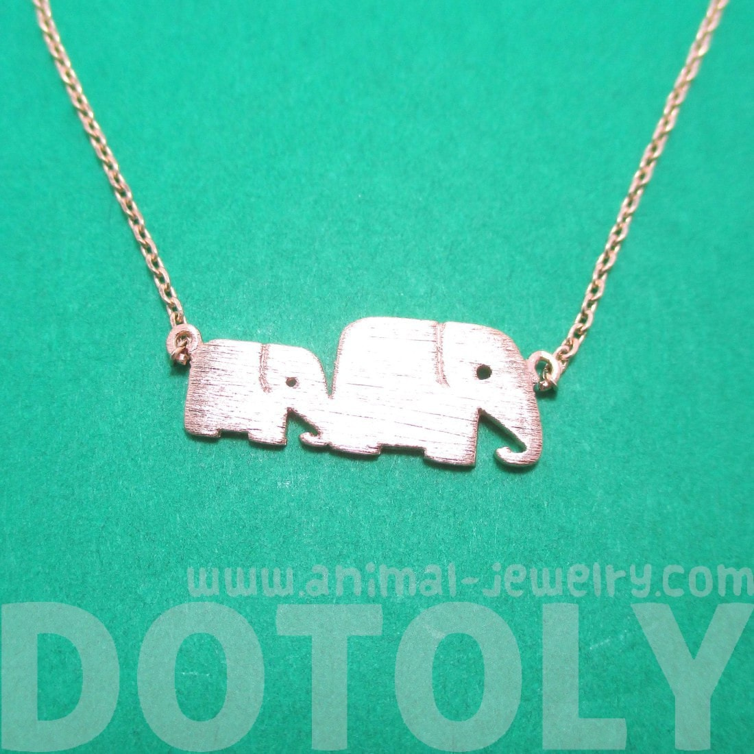 Mother Baby Elephant Silhouette Bracelet in Rose Gold