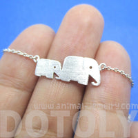 Mother and Baby Elephant Charm Bracelet in Silver