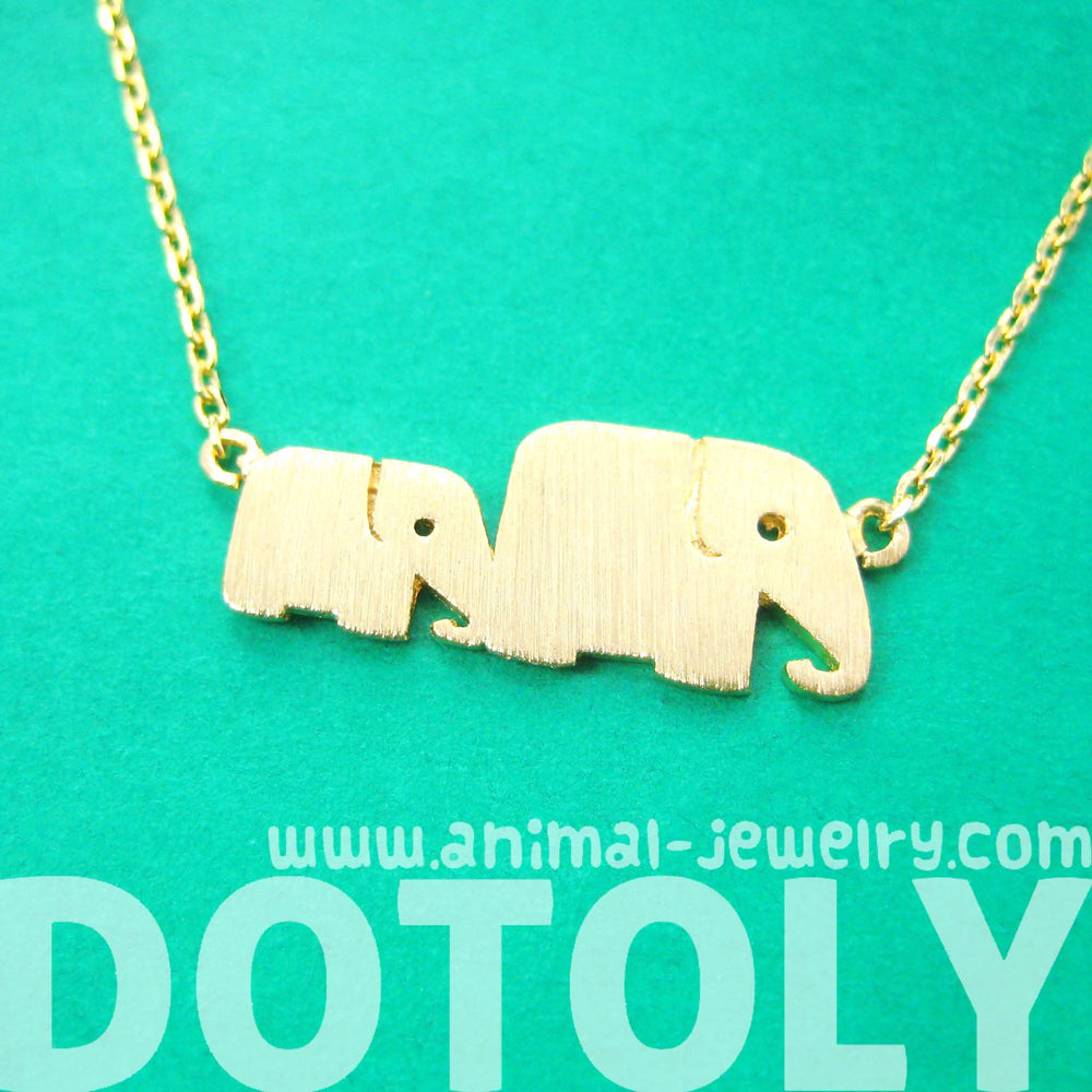 Mother and Baby Elephant Animal Silhouette Pendant Necklace in Gold