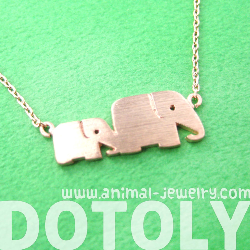 Mother and Baby Elephant Animal Silhouette Pendant Necklace in Rose Gold