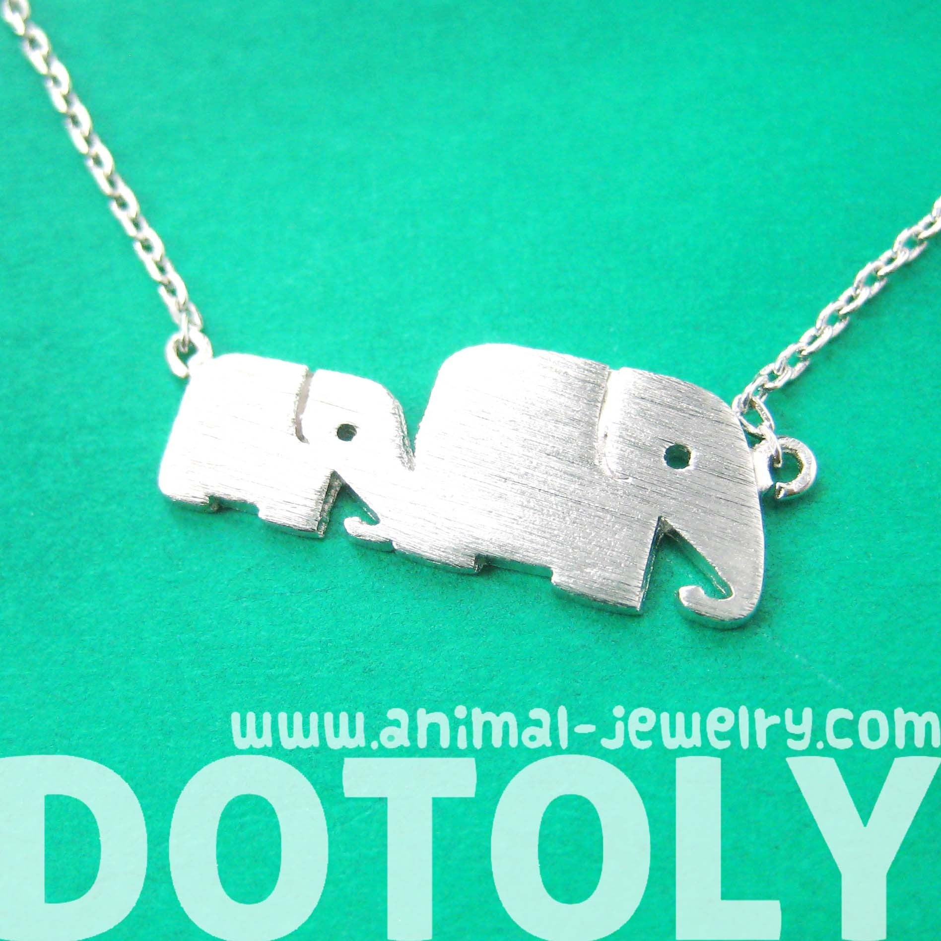 Mother and Baby Elephant Animal Silhouette Pendant Necklace in Silver