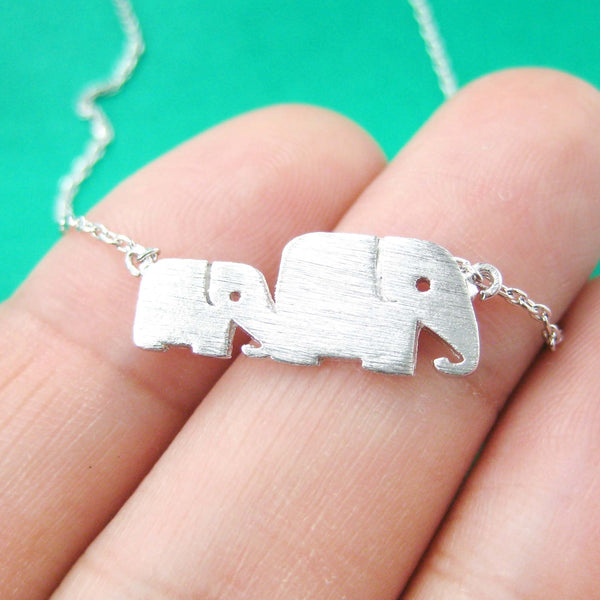 Mother and Baby Elephant Animal Silhouette Pendant Necklace in Silver | DOTOLY | DOTOLY