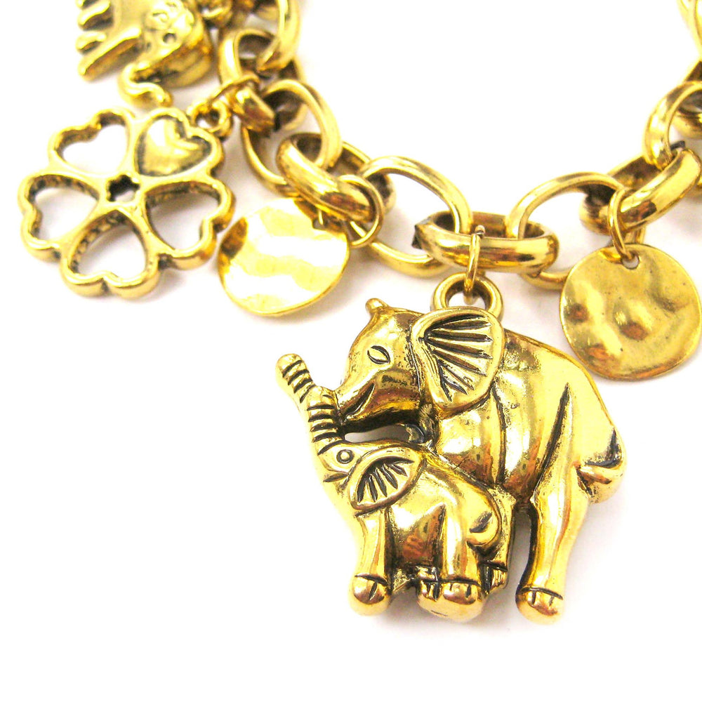 Mother and Baby Elephant Shaped Floral Charm Bracelet in Gold | DOTOLY