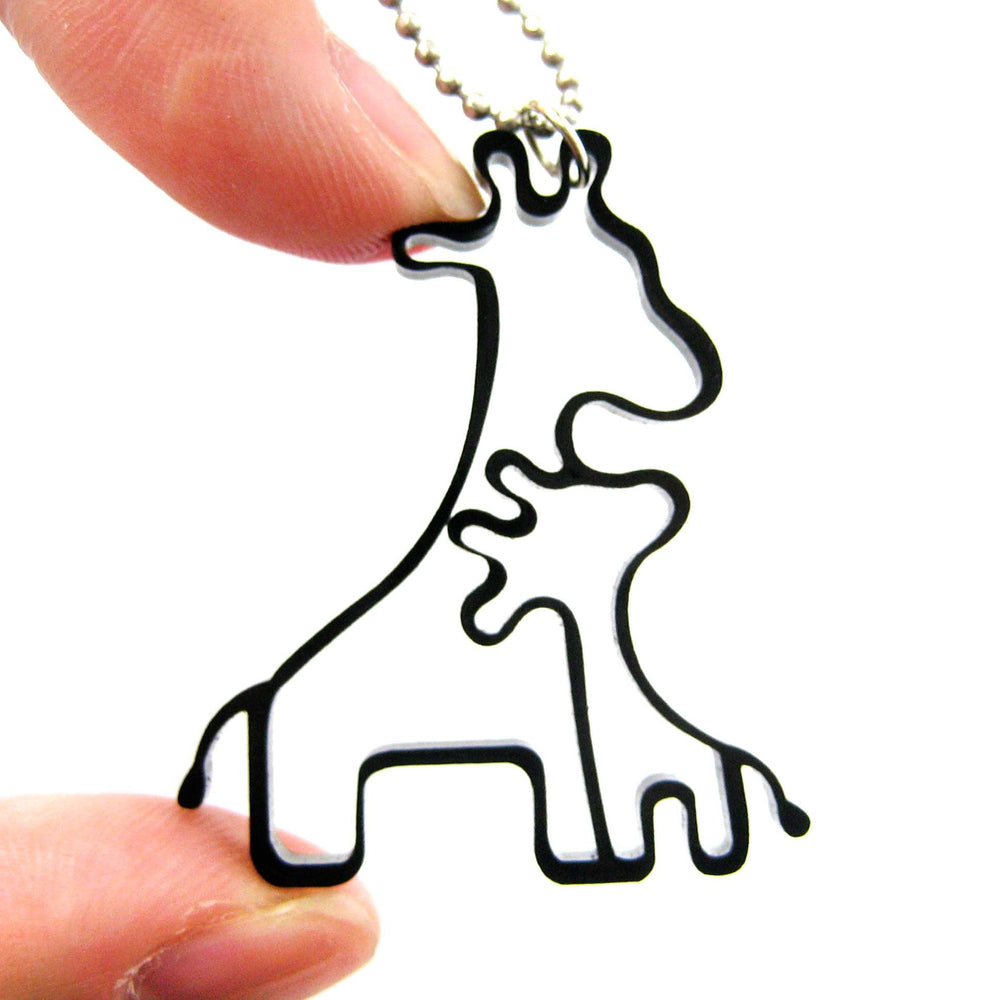 Mother and Baby Giraffe Outline Shaped Pendant Necklace in Black Acrylic | DOTOLY | DOTOLY