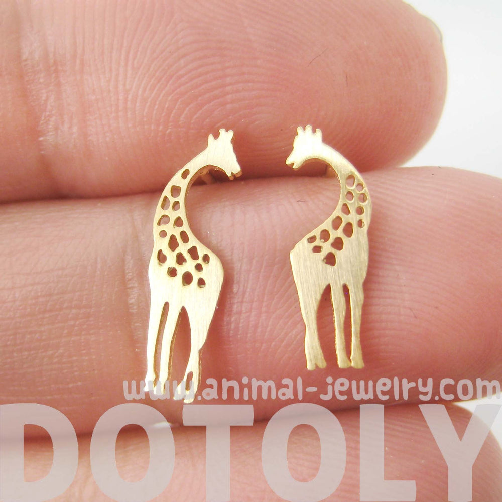 Mother And Baby Giraffe Silhouette Shaped Stud Earrings In Gold   Allergy Free  Dotoly