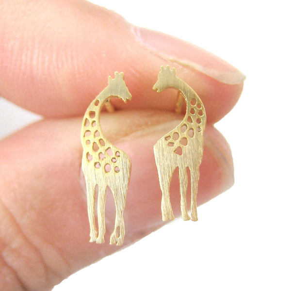 Mother and Baby Giraffe Silhouette Shaped Stud Earrings in Gold | Allergy Free | DOTOLY
