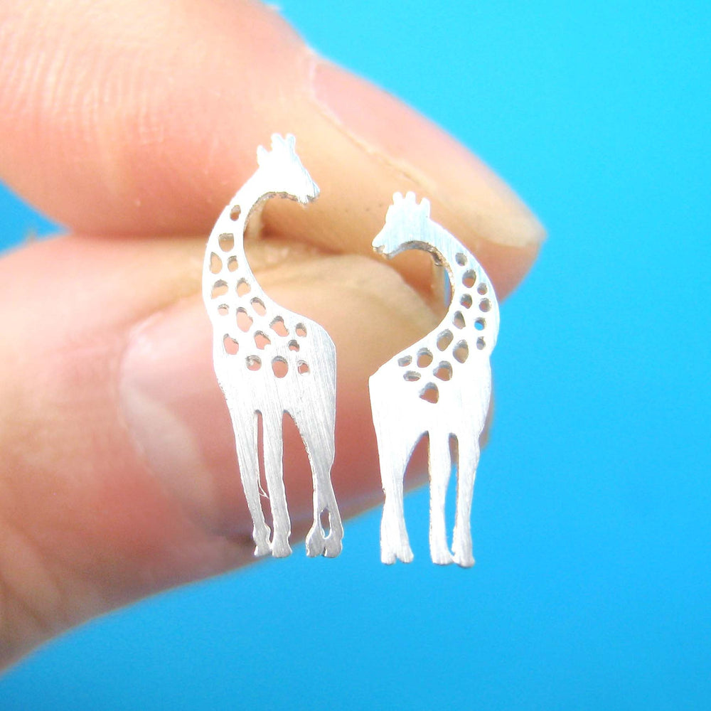 Mother and Baby Giraffe Silhouette Shaped Stud Earrings in Silver | Allergy Free | DOTOLY
