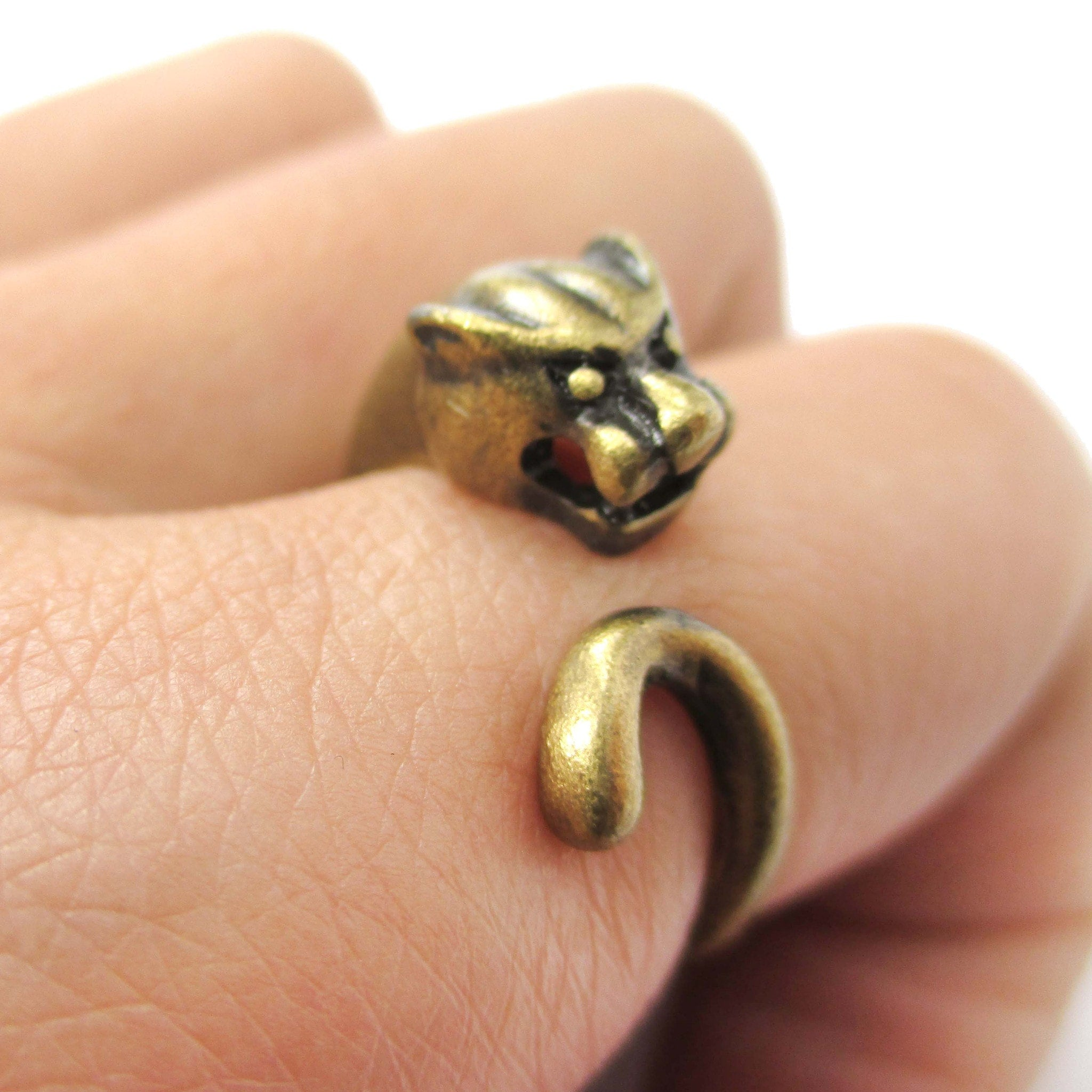 Mountain Lion Cougar Puma Shaped Animal Wrap Ring