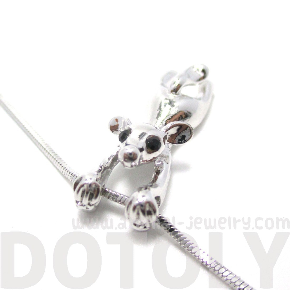Mouse Dangling Off Chain Pendant Necklace in Silver