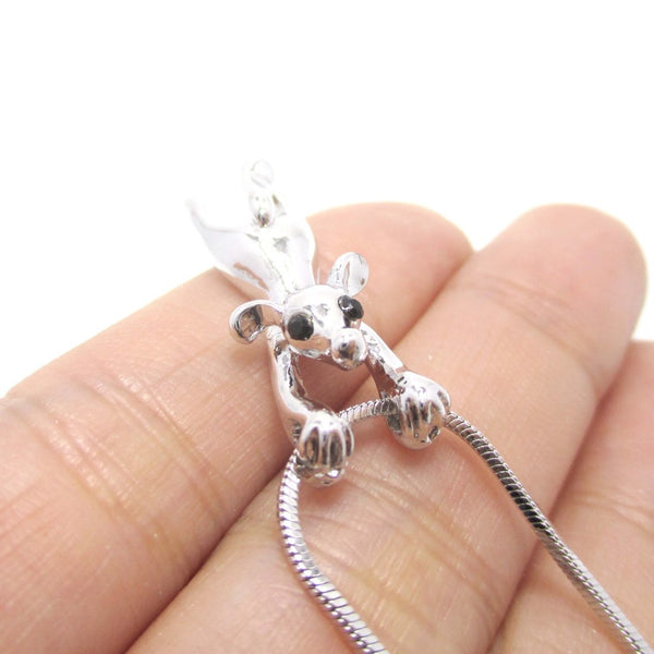 Mouse Dangling Off Chain Pendant Necklace in Silver | Animal Jewelry | DOTOLY