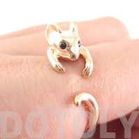 Mouse Shaped Animal Wrap Around Ring in Shiny Copper