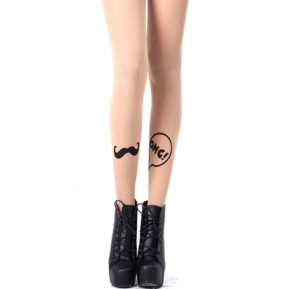 Moustache and Speech Bubble Sheer Nude Tattoo Tights for Women