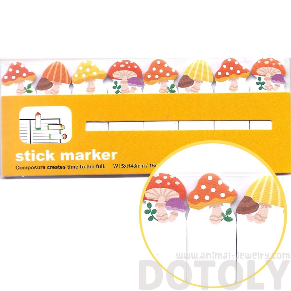 Mushroom Toadstool Food Themed Memo Post-it Index Bookmark Tabs