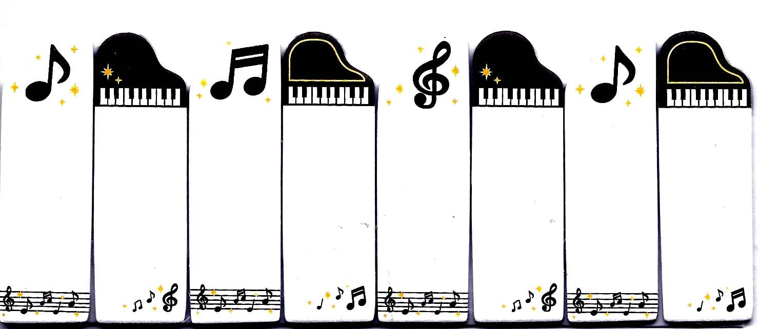 Music Themed Piano Notes Treble Clef Memo Post-it Index Tab Sticky Bookmarks