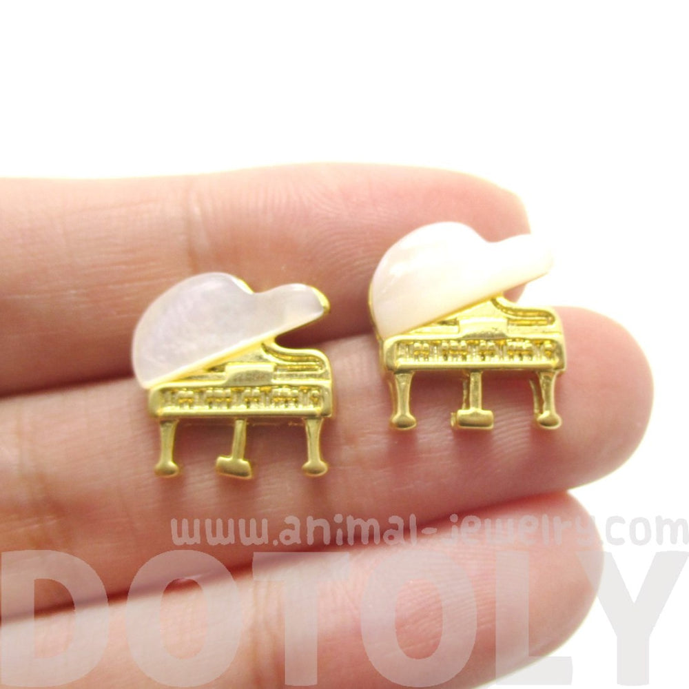 Musical Instrument Themed Grand Piano Shaped Stud Earrings in Gold | DOTOLY