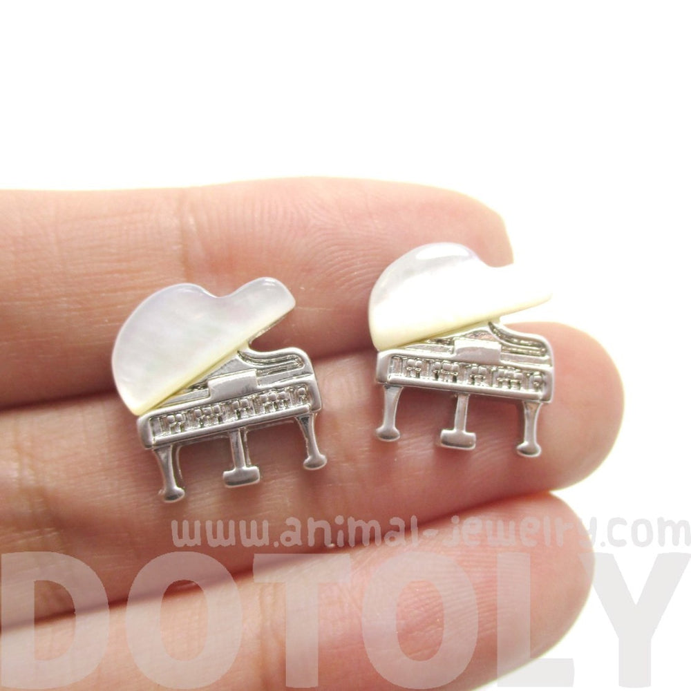 Grand Piano Music Themed Shaped Stud Earrings in Silver
