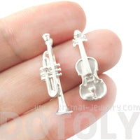 Musical Instrument Themed Violin and Trumpet Shaped Stud Earrings in Silver | DOTOLY