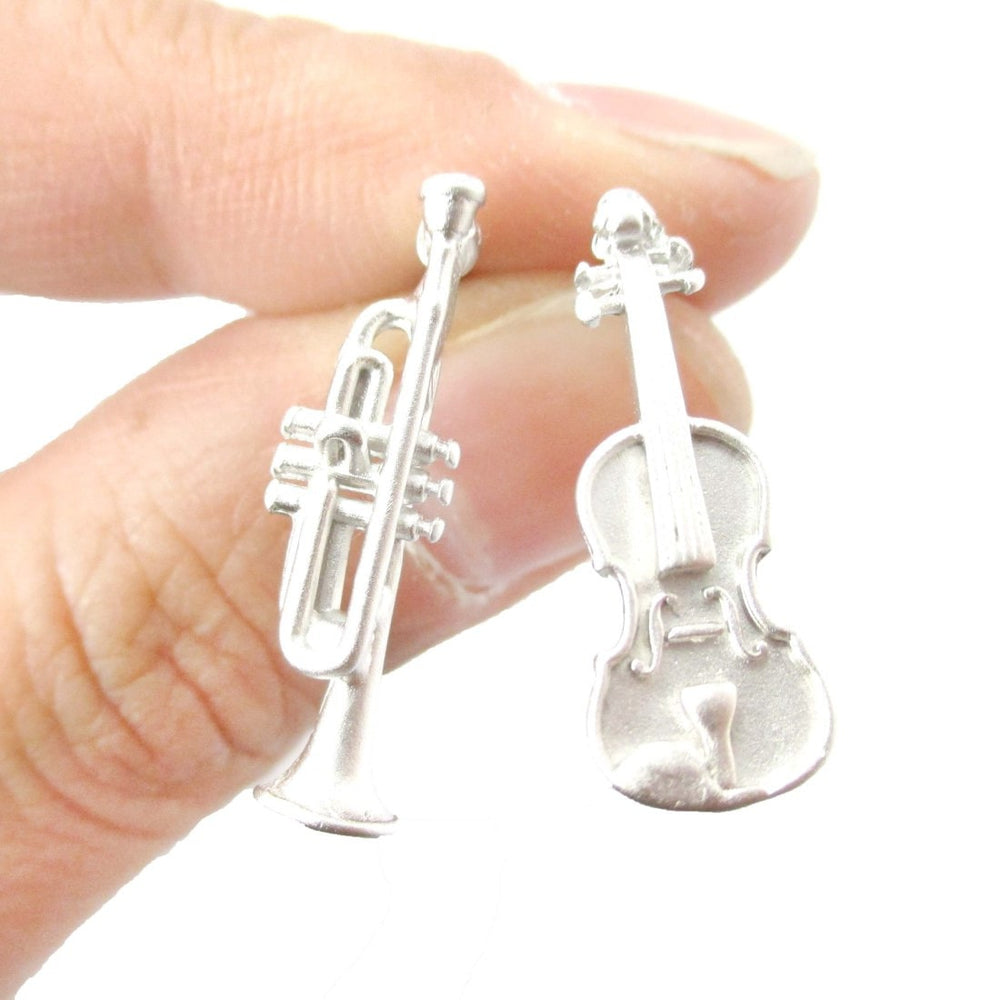 Violin and Trumpet Musical Instrument Shaped Stud Earrings in Silver