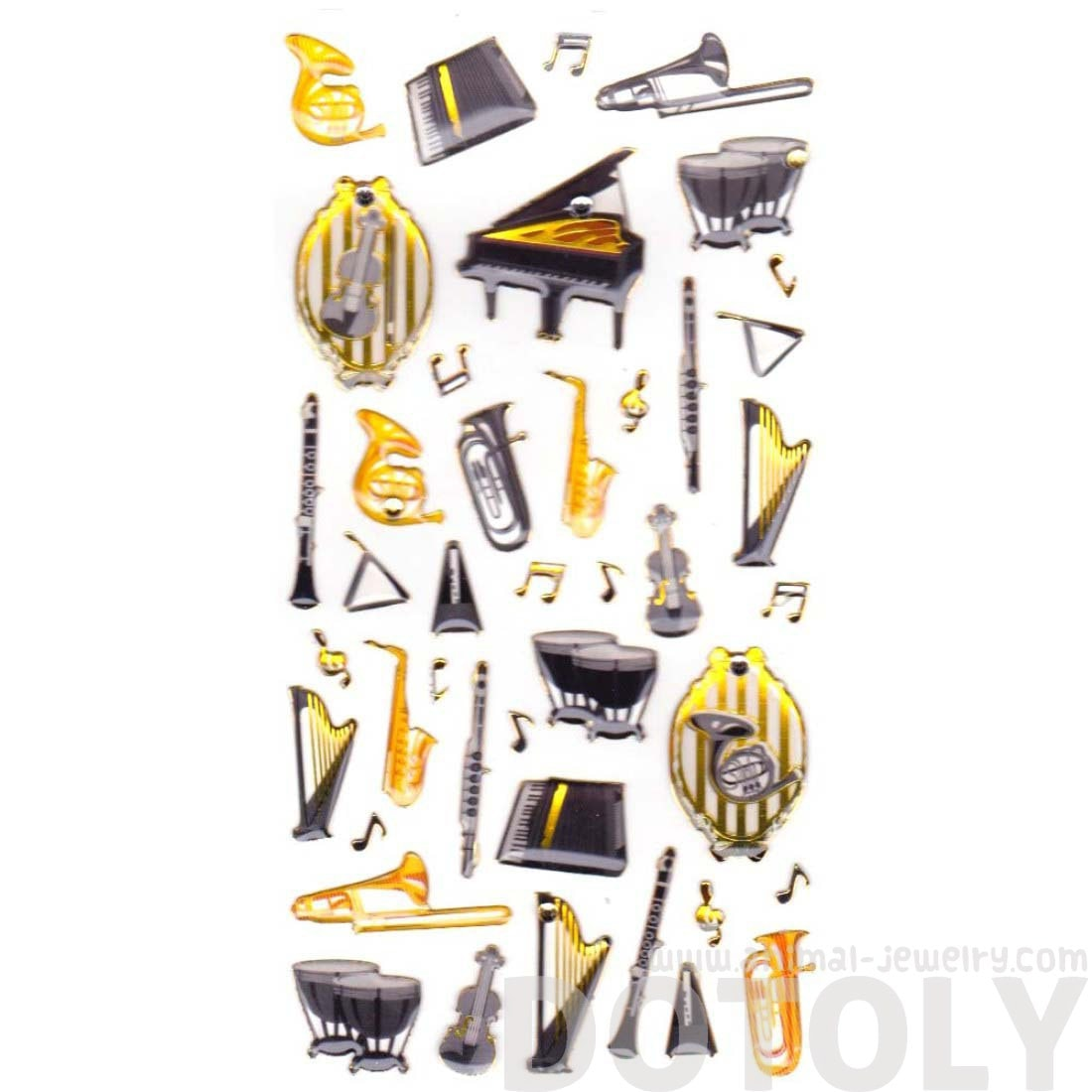 Musical Instruments Piano Harp Drums Shaped Stickers