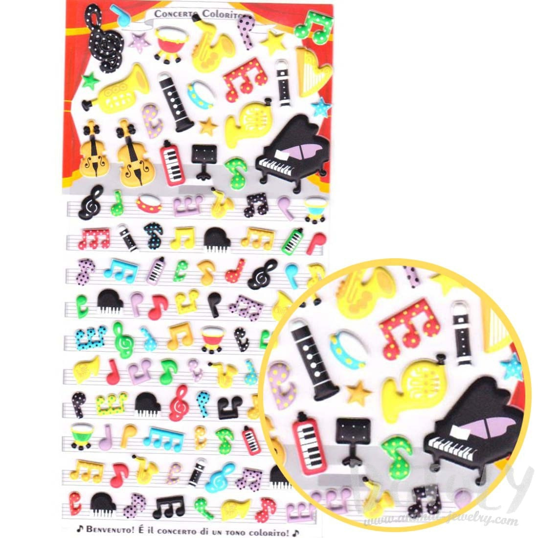 Musical Notes Piano Violin Harp Shaped Puffy Stickers